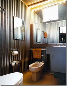 industrial bathroom - love the layout too, esp with the bidet
