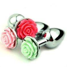 Rose Petal Stainless Steel Buttplug - 8 Colors - DDLGWorld