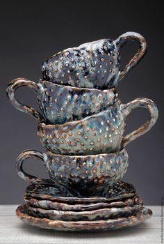 Купить Большая чайная пара Исландия - бирюзовый, Керамика, фактура, посуда, чай, коричневый, эффекты