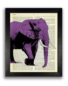 BIG PURPLE ELEPHANT Our vintage prints are a very unique and fun way to add something new and different to your home. These are perfect birthday, wedding and holiday gifts for all people and children.