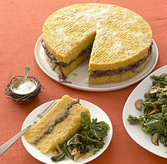 Awesome veggie main from Fine Cooking--Roasted Squash and Polenta Torta with Red Onion Marmalade