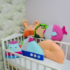 Baby decorative pillows in nautical style - soft toy ship pillow - shell jellyfish fish crab turtle pillows - Crib bumpers Crib Bumper Set, Bed Bumpers, Nautical Style, Nautical Fashion, Animal Pillows, Jellyfish, Cribs, Decorative Pillows, Turtle