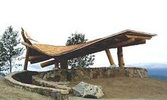 The Snoqualmie Point Park orientation table is located within this (yes, Sea Ranch inspired) viewing shelter - that collapsed under the first big snow. Can't remember name of the architect who designed the shelter. Was rebuilt w/ improved structure.