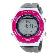 Casio Women's LWS200H-4ACF Solar Runners 120-Lap Grey and Pink Digital Sport Watch Casio. $18.95. Water-resistant to 165 feet (50 M). 1/100th second stopwatch with 120 lap memory. Tough solar powered; LED light; World time. 5 alarms. Countdown timer; 12/24 hour formats. Save 53% Off!