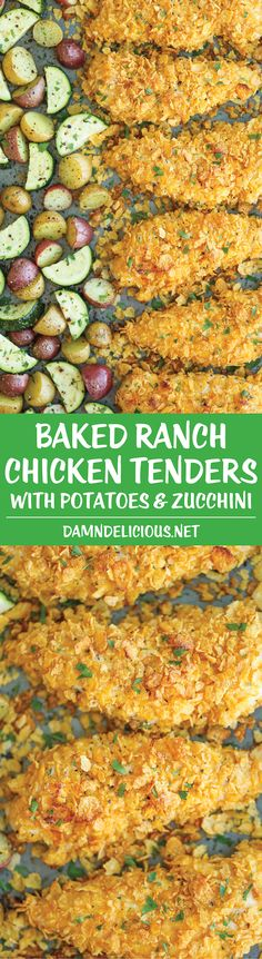 Baked Ranch Chicken Tenders and Veggies - No one will ever believe that these crisp chicken fingers are completely baked and cooked on ONE PAN with veggies Healthy Dinner Ideas for Delicious Night & Get A Health Deep Sleep Baked Ranch Chicken, Baked Chicken Fingers, Chicken Sausage, Cooking Recipes, Healthy Recipes, Pan Cooking, Bread Recipes, Le Diner, I Love Food