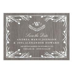 Rustic Country Monogram Wedding Save the Date Custom Invites