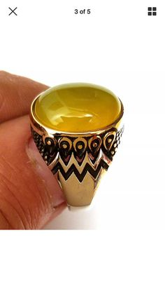 Items similar to Hand made ottomane Turkish style 925 Sterling silver man ring USA size yellow agate (aqiq) stone on Etsy Turkish Style, Turkish Fashion, Gold And Silver Rings, Silver Man, Popular Engagement Rings, Looks Cool, Class Ring, Jewelry Design, Men Rings
