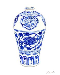 Blue and White Ginger Jar Vase No. 3 - Original Watercolor 8 x 10 - Home Decor Porcelain Chinoiserie Chinese Antique Ceramics Ming Vase by LauraRowStudio on Etsy https://www.etsy.com/listing/231650106/blue-and-white-ginger-jar-vase-no-3