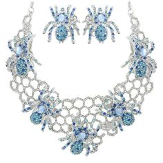 Halloween Spider Web Blue Austrian Crystal Necklace Earrings Set ($42) ❤ liked on Polyvore featuring jewelry, earrings, austrian crystal jewelry and blue jewelry