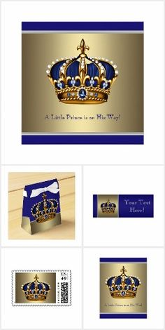 Prince baby shower design with beautiful royal blue and gold jewel crown on a rich blue and gold background. This popular royal blue and gold prince baby shower design is available on a variety of products which are easily customized for your event. Baby Shower Invitations For Boys, Baby Shower Favors, Baby Boy Shower, Baby Shower Gifts, Royal Blue And Gold, Shower Banners, Baby Shower Balloons, Baby Prince, Gold Crown