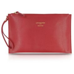 Le Parmentier Saffiano Leather Zip Clutch (130 CAD) ❤ liked on Polyvore featuring bags, handbags, clutches, clutches / wallets / purses, saffiano calf leather, wristlet clutches, evening purse, cocktail purse, wristlet handbags and red evening handbags