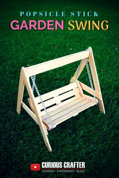 How Can I Improve My Golf Swing, Diy And Crafts, Popsicle stick garden bench swing. Step-by-step guide to creating this popsicle stick garden bench swing perfect for a dollhouse, scaled model or fair. Diy Popsicle Stick Crafts, Popsicle Stick Houses, Wood Sticks Crafts, Craft Sticks, Popsicle Stick Birdhouse, Popsicle Bridge, Wood Crafts, Diy Barbie Furniture, Dollhouse Furniture