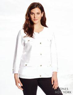 Jones New York Women's Plus-Size Bracelet Sleeve Button Front Cardi