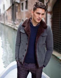 Faux Fur Lined Powder Blue Cardigan. Men's Fall Winter Fashion.