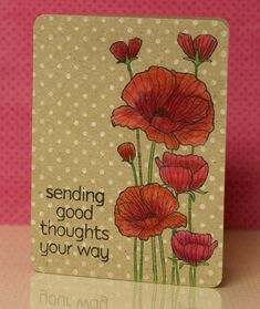 Color Class Poppies—Jennifer McGuire explains the technique: For this card, I first stamped the card with my favorite white ink, and then stamped over it with black ink. Finally, I colored it in super heavily with colored pencils.