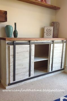 Nowhere in your home to put a barn door? Use sliding door hardware to update furniture instead. Get the tutorial at I Can Find The Time.