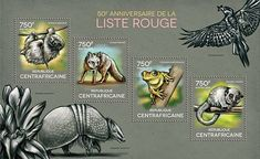 Stamp: The 50th Anniversary of the Red List (Central African Republic) (Anniversary) Mi:CF 4750-4753KB