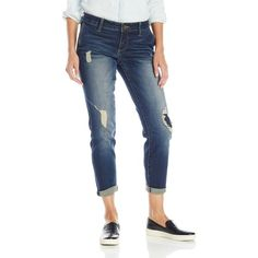 KUT from the Kloth Women's Adele Slouchy Boyfriend featuring polyvore women's fashion clothing jeans destroyed jeans blue jeans distressed boyfriend jeans torn jeans relaxed fit boyfriend jeans