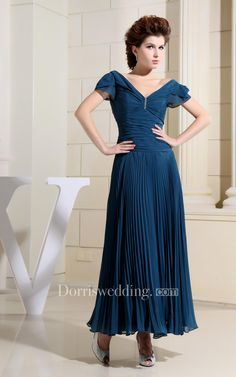 #Valentines #AdoreWe #Dorris Wedding - #Dorris Wedding Chiffon Caped-Sleeve Long Dress With Ruching and Pleats - AdoreWe.com