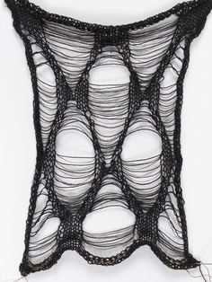 Black Texture Fashion Designer Resident: Juliana Sissons - Victoria and Albert Museum/Black knitted sample with shaped ladder technique Cotton - Textile Texture, Textile Fabrics, Fabric Textures, Textile Patterns, Textile Design, Textile Art, Weaving Textiles, Knitting Designs, Knitting Stitches