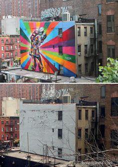 The Kiss Mural, Chelsea, New York, USA art art graffiti art graffiti definition art graffiti quotes art graffiti words art quotes wall art quotes 3d Street Art, Street Art Graffiti, Street Artists, Photographie Street Art, The Kiss, Empty Canvas, Urbane Kunst, Street Art Photography, Beautiful Streets