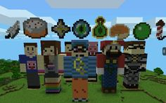 I built all these cool youtubers and minecraft items in minecraft PE