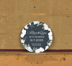 Chalkboard White Botanical Save the Dates,Rustic White Floral Save the Date,Rustic Botanical Wedding Invitations,Round floral Save the Date - pinned by pin4etsy.com