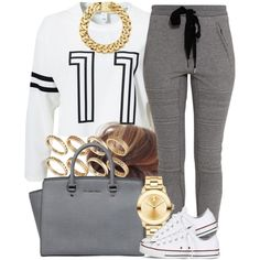 A fashion look from October 2014 featuring Estradeur sweaters, 3.1 Phillip Lim activewear pants and Converse sneakers. Browse and shop related looks.