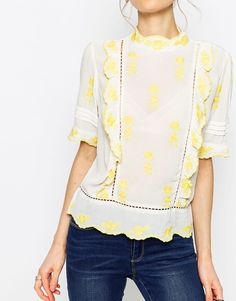 ASOS Embroidered High Neck Blouse