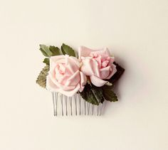 Pink vintage flower comb Floral rose hair accessory  by whichgoose