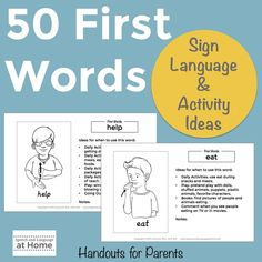 50 First Words sign language and activity ideas speech and language at home handouts for parents