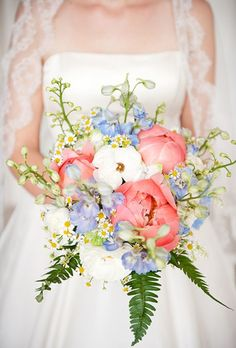 Brides: Bright Bouquet of Peonies & Delphinium. A bright pink-and-white bouquet with peonies, greenery, and pale blue delphinium. Bridal Bouquet Coral, Coral Wedding Flowers, Spring Wedding Bouquets, Bridesmaid Bouquet, Wedding Colors, Bouquet Flowers, Wedding Dresses, Bridesmaids, Flowers Uk