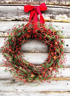 Gorgeous Rustic Christmas Tree Decorations : Gorgeous Wreath Design And Lovely Red Ribbon For Wonderful Rustic Christmas Tree Ornaments And Vintage Wooden Wall Material