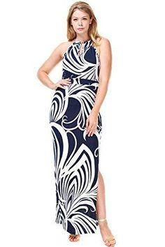 59d87220f89 Plus Size Navy Blue And White Swirl Halter Maxi Resort Dress