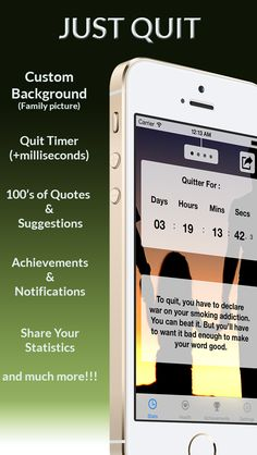 Quit smoking iPhone App - Amazing new concept. Select your family image as motivation. https://itunes.apple.com/app/id881199175