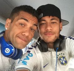 Selfie: The Barcelona forward poses with team-mate and international colleague Dani Alves ...