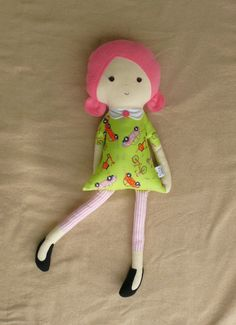 Large Fabric Doll Rag Doll with Pink Hair by rovingovine on Etsy, $35.00