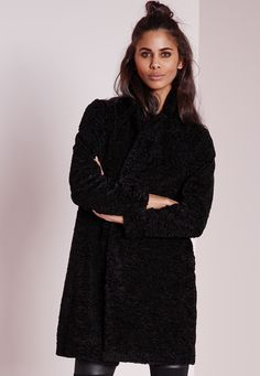 more photos a63bd b3e9f Missguided - Teddy Curly Wool Coat Black Wraps, Svart
