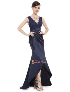NextProm.com Offers High Quality Navy Blue Long  V Neck Prom Dress With Lace Bodice,Priced At Only USD USD $112.00 (Free Shipping)