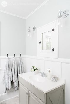 House Flipping Before and Afters - Budget Bathroom Renovation, White Gray and Blue Bath - Sherwin Williams Silver Strand White Bathroom Paint, Modern White Bathroom, Silver Bathroom, Bathroom Paint Colors, Small Bathroom, Master Bathroom, Light Grey Bathrooms, Lake Bathroom, Shiplap Bathroom