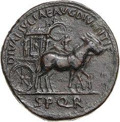 Sesterzio - bronzo - Roma (90-91 d.C.) - DIVAE IVLIAE AVG DIVI TITI F / S P Q R - carpentum decorato da ghirlande e vittorie trainato da due muli vs.dx. - Münzkabinett Berlin
