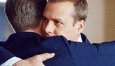 Suits Harvey and Mike hug gif