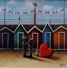 Do You Remember? Original Oil Painting by David Renshaw.  Love the beach huts!