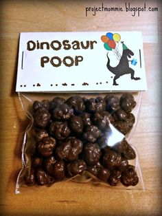 "PDF: Dinosaur Poop Party Favor Bag Toppers ""Thanks for a roarin' good time!"""