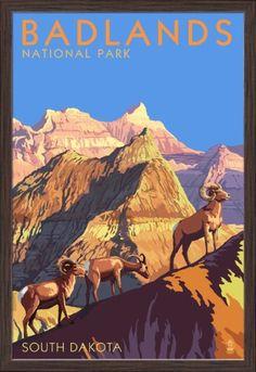 Badlands National Park, South Dakota - Bighorn Sheep - Lantern Press Artwork (24x36 Giclee Art Print, Gallery Framed, Espresso Wood), Multi