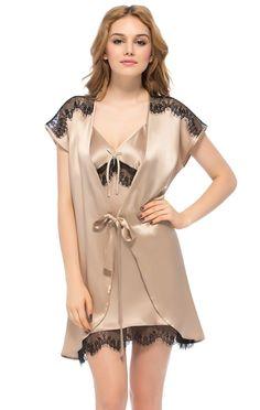 Light Coffee Lace Edged Mulberry Silk Robe and Chemi Set   Ladies Fashion @ FashionPin.org