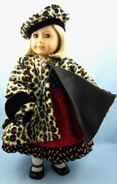 American Girl Doll Clothes - Cape, Hat, Muff in Faux Cheetah