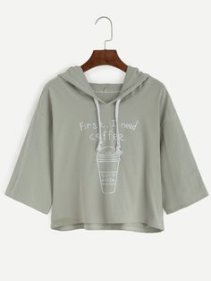 OOOOH GOTTA HAVE MY COFFEE & THIS!! ☕☕♡☕Shop Coffee Cup Slogan Print Drawstring Hooded T-shirt online. SheIn offers Coffee Cup Slogan Print Drawstring Hooded T-shirt & more to fit your fashionable needs.