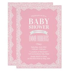 Vintage White Lace Elegant Pink Baby Shower Card Pretty #beach themed #weddinginvitations - Make your wedding day super special with these custom #beachtheme #invitations and #stationary