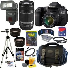 Canon EOS 60D 18 MP CMOS Digital SLR Camera with EF-S 18-55mm f/3.5-5.6 IS Lens & EF-S 55-250mm f/4.0-5.6 IS Telephoto Zoom Lens + Automatic TTL Flash + Telephoto & Wide Angle Lenses + 16GB Deluxe Accessory Kit by Canon. $1299.95. With the new EOS 60D DSLR, Canon gives the photo enthusiast a powerful tool fostering creativity, with better image quality, more advanced features and automatic and in-camera technologies for ease-of-use. It features an improved APS-C sized 18.0 Megap...